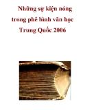 Những sự kiện nóng trong phê bình văn học Trung Quốc 2006