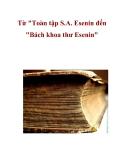 """Từ """"Toàn tập S.A. Esenin đến """"Bách khoa thư Esenin"""""""