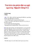 Tìm hiểu tác phẩm Bài ca ngất ngưởng - Nguyễn Công Trứ