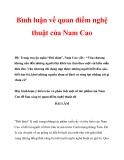 Bình luận về quan điểm nghệ thuật của Nam Cao