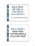 DATA MINING AND APPLICATION: KHAI THÁC TẬP PHỔ BIẾN & LUẬT KẾT HỢP