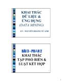 DATA MINING AND APPLICATION: BÀI TOÁN KHAI THÁC