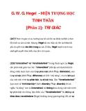 G. W. G. Hegel - HIỆN TƯỢNG HỌC TINH THẦN [Phần 2]: TRI GIÁC_6