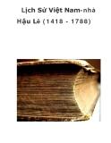 Lịch Sử Việt Nam-nhà Hậu Lê (1418 - 1788)