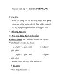 Giáo án toán lớp 5 - Tiết 150: PHÉP CỘNG