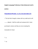 English Language Proficiency Tests-Advanced Level'sarchivePrepositional Phrases – In, On, Out