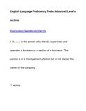 English Language Proficiency Tests-Advanced Level'sarchiveEconomics