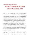 ĐẢNG LÃNH ĐẠO CAO TRÀO CÁCH MẠNG 1930 – 1931_1