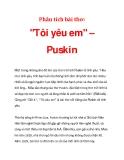 """Phân tích bài thơ:  """"Tôi yêu em"""" – Puskin"""