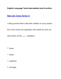 English Language Tests-Intermediate level's archiveReal Life: Circus Terms (1)