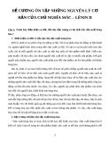 ĐỀ CƯƠNG ÔN TẬP NHỮNG NGUYÊN LÝ CƠ BẢN CỦA CHỦ NGHĨA MÁC – LÊNIN II