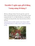 Tìm hiểu Ý nghĩa ngày giỗ tổ Hùng Vương mùng 10 tháng 3
