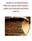 Sự đan xen các khuynh hướng thẩm mỹ trong thơ Huyền Quang nghiên cứu trường hợp sáu bài thơ vịnh cúc