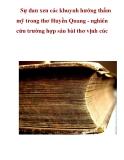 Sự đan xen các khuynh hướng thẩm mỹ trong thơ Huyền Quang - nghiên cứu trường hợp sáu bài thơ vịnh cúc