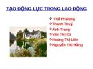 Báo cáo quản trị nhân lực 5 - TẠO ĐỘNG LỰC TRONG LAO ĐỘNG