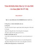 TómtắtkiếnthứcĐịaLý12củaSGK - Cơbản(Bài 16-17-18)