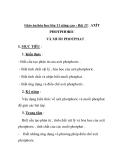 Giáo án hóa học lớp 11 nâng cao - Bài 15: AXÍT PHOTPHORIC VÀ MUỐI PHOTPHAT