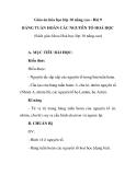 Giáo án hóa học lớp 10 nâng cao - Bài 9 BẢNG TUẦN HOÀN CÁC NGUYÊN TỐ HOÁ HỌC