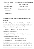 Đề kiểm tra chất lượng ôn thi Đại học Hoá 12