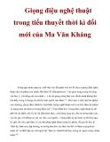Giọng điệu nghệ thuật trong tiểu thuyết thời kì đổi mới của Ma Văn  Kháng