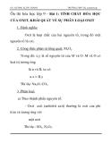 Ôn thi hóa học lớp 9 - Bài 1: TÍNH CHẤT HÓA HỌC CỦA OXIT, KHÁI QUÁT VỀ SỰ PHÂN LOẠI OXIT