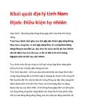 Khái quát địa lý tỉnh Nam Định: Điều kiện tự nhiên