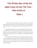 Vấn đề hiện thực xã hội chủ nghĩa trong văn học Việt Nam Nhìn từ lịch sử