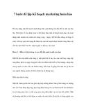 Bảy  bước để lập Kế hoạch marketing hoàn hảo