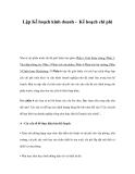 Lập Kế hoạch kinh doanh - Kế hoạch chi phí