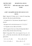 Đề kiểm tra 1 tiết Hoá 10 ban cơ bản - THPT Hồng Ngự I