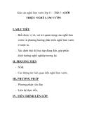 Giáo án nghề làm vườn lớp 11 - Tiết 1 : GIỚI THIỆU NGHỀ LÀM VƯỜN