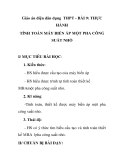 Giáo án điện dân dụng THPT - BÀI 9: THỰC HÀNH TÍNH TOÁN MÁY BIẾN ÁP MỘT PHA CÔNG SUẤT NHỎ