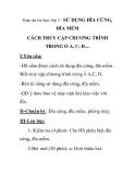 Giáo án tin học lớp 3 - SỬ DỤNG ĐĨA CỨNG,  ĐĨA MỀM CÁCH TRUY CẬP CHƯƠNG