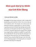 Khái quát địa lý tự nhiên của tỉnh Kiên Giang