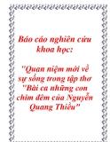 """Báo cáo nghiên cứu khoa học: """"Quan niệm mới về sự sống trong tập thơ Bài ca những con chim đêm của Nguyễn Quang Thiều"""""""