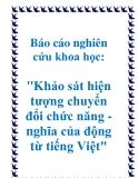 """Báo cáo nghiên cứu khoa học: """"Khảo sát hiện tượng chuyển đổi chức năng - nghĩa của động từ tiếng Việt"""""""