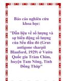 """Báo cáo nghiên cứu khoa học: """" Dẫn liệu về số lượng và sự biến động số lượng của Sếu đầu đỏ (Grus antigone sharpii Blanford, 1929) ở Vườn Quốc gia Tràm Chim, huyện Tam Nông, Tỉnh Đồng Tháp"""""""