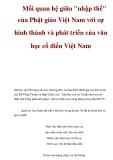 """Mối quan hệ giữa """"nhập thế"""" của Phật giáo Việt Nam với sự hình thành và phát triển của văn học cổ điển Việt Nam"""