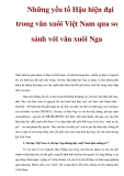 Những yếu tố Hậu hiện đại trong văn xuôi Việt Nam qua so sánh với văn xuôi Nga