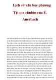 Lịch sử văn học phương Tây qua cái nhìn của E. Auerbach