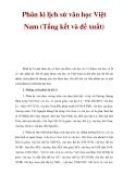 Phân kì lịch sử văn học Việt Nam (Tổng kết và đề xuất)