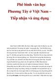 Phê bình văn học Phương Tây ở Việt Nam – Tiếp nhận và ứng dụng