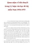 Quan niệm về tiểu thuyết trong Lý luận văn học đô thị miền Nam 1954-1975