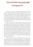 Yếu tố trữ tình trong truyện ngắn Lưu Quang Vũ