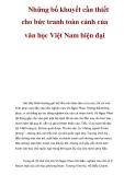 Những bổ khuyết cần thiết cho bức tranh toàn cảnh của văn học Việt Nam hiện đại