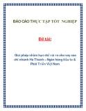 Đề tài: Giải pháp nhằm hạn chế rủi ro cho vay của chi nhánh Hà Thành – Ngân hàng Đầu tư & Phát Triển Việt Nam