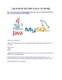 Lập trình kết nối CSDL từ Java vào MySQL