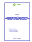 REPORT on Water quality assessment and Recommendation on treatment solutions, monitoring the water quality in Huong Khe and Vu Quang Districts, Ha Tinh Province