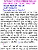 TƯ DUY PHƯƠNG ĐÔNG NHÌN DƯỚI ÁNH SÁNG HỌC THUYẾT EINSTEIN Tác giả: Nguyễn Huệ Chi Phần 1