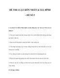 ĐỀ THI LUẬT HÔN NHÂN & GIA ĐÌNH – ĐỀ SỐ 3